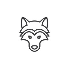 Wolf head line icon, outline vector sign, linear pictogram isolated on white. Symbol, logo illustration