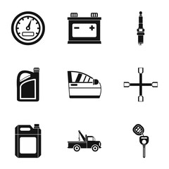 Renovation for machine icons set. Simple illustration of 9 renovation for machine vector icons for web