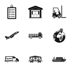Cargo icons set. Simple illustration of 9 cargo vector icons for web