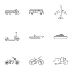 Movement on machine icons set. Outline illustration of 9 movement on machine vector icons for web