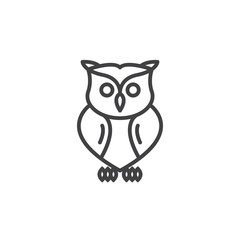 Canvas Prints Owls cartoon Owl line icon, outline vector sign, linear pictogram isolated on white. Symbol, logo illustration