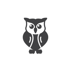 Owl icon vector, filled flat sign, solid pictogram isolated on white. Symbol, logo illustration