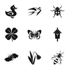 Tending garden icons set. Simple illustration of 9 tending garden vector icons for web