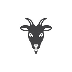 Goat head icon vector, filled flat sign, solid pictogram isolated on white. Symbol, logo illustration