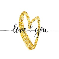 Hand lettering love you words with heart golden glitter texture effect, black ink, isolated on white background. Vector illustration. Can be used for Valentine's day design