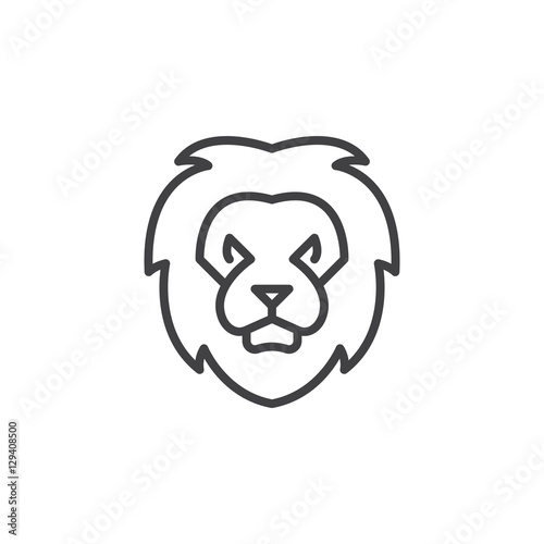 Lion head line icon, outline vector sign, linear pictogram isolated on white. Symbol, logo illustration