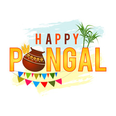 Happy Pongal greeting background with pongal rice in a traditional mud pot, wheat grain and bamboo.