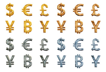 Set of glossy metallic currency symbols. Dollar, euro, yen, yuan, pound, bitcoin isolated on white background.
