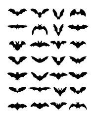 Big set of black silhouettes of bats, vector