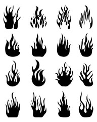 Fire flames, set icons, vector