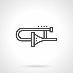 Trombone black simple line vector icon