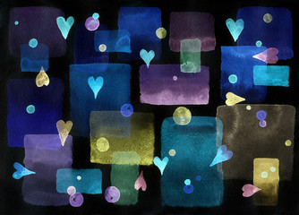 background with hearts night