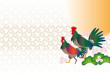 日の出の二羽のニワトリの和風デザインポストカード