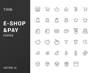 Pack of thin e-commerce icons