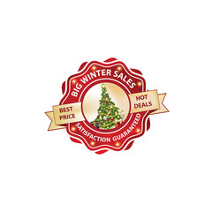 Printable Red Big Winter Sales, Satisfaction Guaranteed, Best Price, Hot Deals Label / Stamp. Contains a Christmas tree with gift boxes. Print colors.