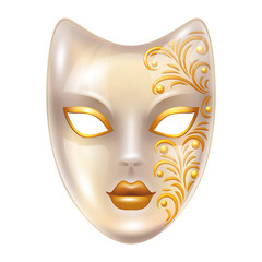 Carnival venetian masks decorated with golden ornaments