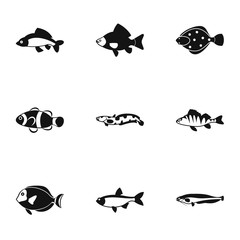 Ocean fish icons set. Simple illustration of 9 ocean fish vector icons for web