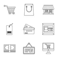 Supermarket buying icons set. Outline illustration of 9 supermarket buying vector icons for web