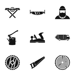 Sawing icons set. Simple illustration of 9 sawing vector icons for web