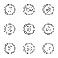 Currency icons set. Outline illustration of 9 currency vector icons for web