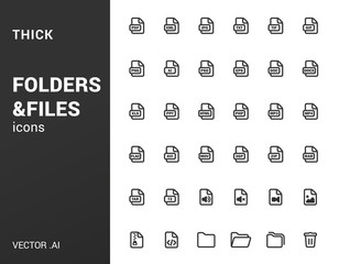 Pack of thick icons of folders and files.
