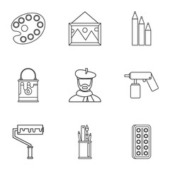 Art icons set. Outline illustration of 9 art vector icons for web
