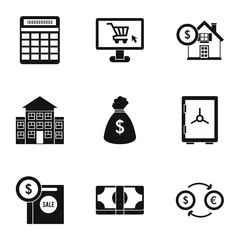 Funding icons set. Simple illustration of 9 funding vector icons for web