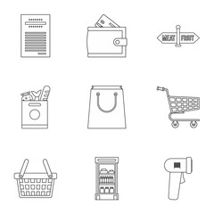 Store icons set. Outline illustration of 9 store vector icons for web