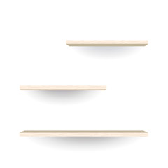Empty wood shelves on white wall background