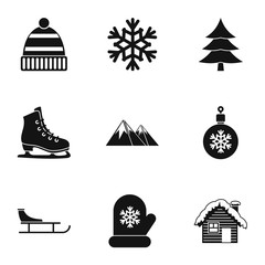 Winter icons set. Simple illustration of 9 winter vector icons for web