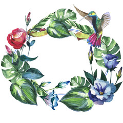 Tropical Hawaii leaves palm tree wreath in a watercolor style isolated.