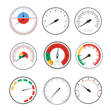 Manometer Temperature Gauge Devices Set. Vector