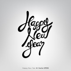 Happy New Year text on light gray background