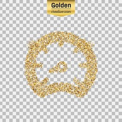 Gold glitter vector icon of speedometer isolated on background. Art creative concept illustration for web, glow light confetti, bright sequins, sparkle tinsel, abstract bling, shimmer dust, foil.