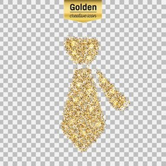 Gold glitter vector icon of necktie isolated on background. Art creative concept illustration for web, glow light confetti, bright sequins, sparkle tinsel, bling logo, shimmer dust, foil.