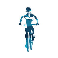 Mountain biker, abstract blue cycling vector silhouette