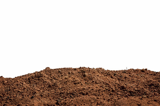 Isolated background of red clay soil