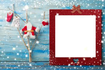 Cheerful Christmas photo frame Santa card