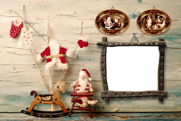 Christmas rustic wooden  photo frame card, Santa Claus rag doll, cute tree and rocking horse with empty photo frame