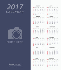 Simple 2017 Calendar with place for photo or copy-space