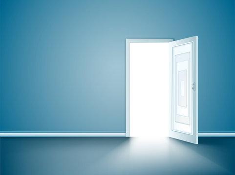 vector opened wood door
