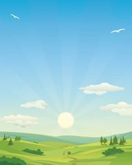 Sunrise over Idyllic landscape illustration