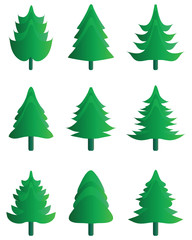 Green silhouettes of Christmas tree icons