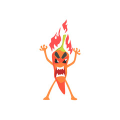 Angry Red Hot Chili Pepper Humanized Emotional Flat Cartoon Character Burning In Flames With Rage