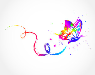 Rainbow with ink butterfly. Vector