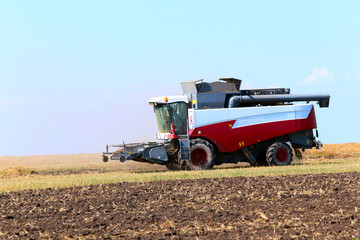 Menzelinsk, Russia - August 7, 2014: Harvesting the Menzelinsk a