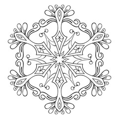 Vector snow flake in zentangle style, mandala for adult coloring