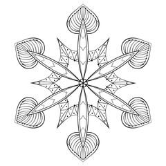 Vector zentangle elegant snow flake, mandala for adult coloring