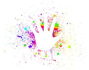 Prints of hands on ink colorful splash. Vector