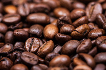 Coffee beans close-up. Texture. Background
